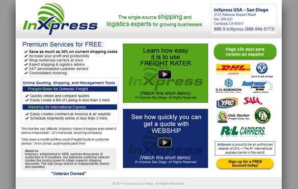 Freight Company Web Page Design